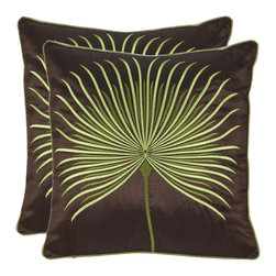 Safavieh - Leaf 18-inch Brown/ Green Decorative Pillows (Set of 2) - Create a tropical ambiance by tossing this pair of exotic decorative pillows on the furniture in your living space. These square, polyester-filled pillows feature a green leaf embroidered on a deep brown case that is secured by a hidden zipper.