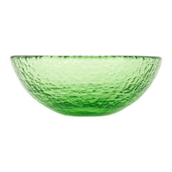 Fire & Light - Recycled Glass Salad Bowl, Celery Green - This iridescent dinnerware is so beautiful, you would never guess that this salad bowl is actually made from recycled glass! The unique play of light that filters through the color of these wonderful bowl will enchant you and offer a glistening backdrop for your favorite mealas well as dips, nuts, veggies or cereal. Made with over 91% recycled glass.