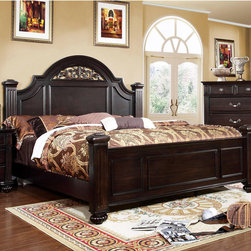 Furniture of America - Furniture of America Grande Dark Walnut Oval Floral Platform Bed - Elegant in every visual way,this four poster bed features an oval headboard that showcases a beautiful floral design along the arching open panel while the fluted bed posts are sturdily upheld by detailed bun feet.