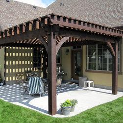 Over Sized Timber Frame Pergola Arbor Gazebo Kits - Oversized pergola kit installed over back patio.