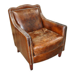 NOIR - Noir Club Chair 2 - Material: BirchFinish: Vintage CigarFabric: LeatherNoir products are hand finished and created with a concentrated effort toward environmental sustainability. Variations could occur and are not considered as product defects.