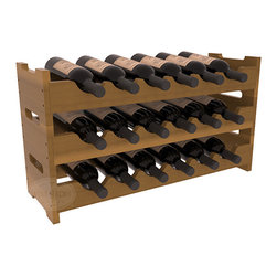 18 Bottle Mini Scalloped Wine Rack in Redwood with Oak Stain + Satin Finish - Stack three 6 bottle racks for proper storage of 18 wine bottles. This rack requires light hardware for assembly and is ready to use as soon as it arrives. Makes the perfect gift and stores wine on any flat surface.