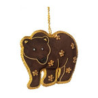 Sitara Collections - Handcrafted Zardozi Ornament - Bear - Our Gorgeously Rendered Bear Delivers an Impressive Level of Detail om a Compact Canvas. the Rich Brown and Gold Palette Perfectly Showcases Sequined Embellishments and Beautiful Facial Features Produced with Traditiomal Zardozi Embroidery. Color: Brown, Gold. Shape: Bear. Dimensioms: 4.0 inches Length X 3.5 inches High X .75 inches Deep. Materials: Fabric, Thread, Beads. Hanging instructioms: Hang with attached Loop.