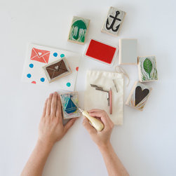 Carve-A-Stamp Series // Yellow Owl Workshop - Our original Carve-A-Stamp kit comes with 25 unique templates and an all surface ink pad that can be used to spruce up wrapping paper, gift tags, blankets, t-shirts and more!