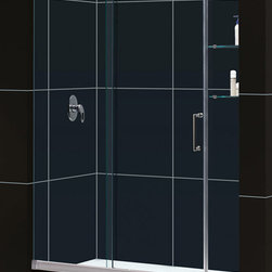 """Dreamline - Mirage Frameless Sliding Shower Door & SlimLine 34"""" x 60"""" Single Threshold Base - This kit pairs a MIRAGE sliding shower door and coordinating SlimLine shower base to completely transform a shower space. The MIRAGE uses innovative hardware to provide the space-saving benefits of a sliding door without compromising the beauty of a completely frameless glass design. A coordinating SlimLine shower base completes the picture with a sleek low profile design. DreamLine shower kits deliver an efficient yet elegant solution with the look of custom glass at an exceptional value."""