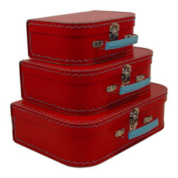 Cargo - Cargo Traveler Mini Suitcases, Set of 3, Red - Retro style mini suitcases.  Set of 3.  Super cute carry cases.  Delightful decorative storage for supplies, small toys, etc.  Unique gift packaging, party favors, craft project.  An eco-friendly product.