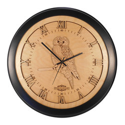 Design & Board, Inc. - Owl Wall Clock - The Owl Clock offered only by Design & Board is created, crafted and assembled in the U.S..  All our clocks are individually engraved, precision cut and carefully hand assembled. Each piece is made with multiple layers of natural Birch wood and finished with a durable clear lacquer finish to ensure quality.