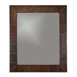 "Premier-Copper-Products - 36"" Rectangle Copper Mirror w/Forged Rivets - MFREC3631-RI Premier Copper Products 36 Inch Hand Hammered Rectangle Copper Mirror with Hand Forged Rivets"