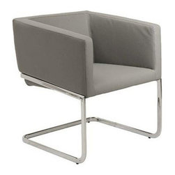 "Eurostyle - Eurostyle Ari Leatherette Lounge Chair in Gray w/ Chromed Steel Base - Leatherette Lounge Chair in Gray w/ Chromed Steel Base belongs to Ari Collection by Eurostyle Upholstered in soft leatherette over foam. Chromed steel base. Fully assembled. Seat height: 18"". Lounge Chair (1)"