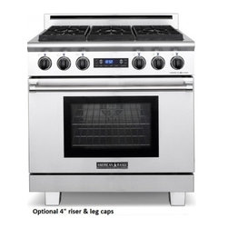 """American Range - Medallion Series ARR-366DF-N 36"""" Freestanding Dual-Fuel Natural Gas Range With 6 - This 36 dual-fuel range comes with6 sealed gas burners in 3 sizes 17000 BTU lg 13000 BTU med and 9000 BTU sm 36 electric self-clean oven eletric infrared broiler electronic keypad with blue VFD display blue LED light indicators commercial grade high ..."""