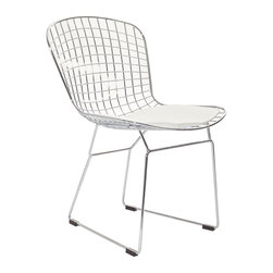 "LexMod - CAD Dining Side Chair in White - CAD Dining Side Chair in White - The minimal nature of this CAD Wire Side Chair is an asset for any lover of modern furniture. A simple yet stylish design evoking the height of modern classic design. As comfortable as it is attractive, this is the sort of accent chair that starts conversations. Set Includes: One - CAD Wire Side Chair Chrome Steel Frame, Vinyl Seat Pad, with Velcro Strips, Plastic Non-Marking Feet Overall Product Dimensions: 21""L x 21""W x 32""H Seat Dimensions: 18""L x 17""H Leatherette Seat Cushion Dimensions: 16.5""L x 17""W - Mid Century Modern Furniture."