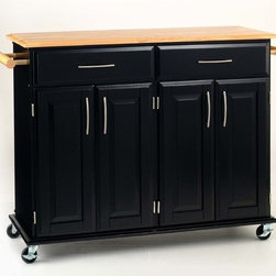 """Home Styles - Dolly Madison Kitchen Cart with Wood Top - This kitchen cart features a clean design that is sure to add an appealing flair to your kitchen. Style meets function with heavy duty casters, drawers, cabinets, and shelves. This indispensable cart will allow you to utilize your kitchen space in ways you never dreamed possible. Features: -Black base with clear protective lacquer.-Ample drawer and cabinet space.-Locking casters provide mobility.-Durable wood and metal construction.-Natural finish wood top.-Product Type: Kitchen Cart.-Collection: Dolly Madison.-Distressed: No.-Powder Coated Finish: No.-Gloss Finish: No.-Base Material: Wood.-Counter Material: Wood.-Hardware Material: Brushed steel.-Solid Wood Construction: Yes.-Number of Items Included: 1.-Water Resistant or Waterproof Cushions: No.-Stain Resistant: No.-Warp Resistant: No.-Exterior Shelves: No.-Drawers Included: Yes -Number of Drawers: 2.-Push Through Drawer: No..-Cabinets Included: Yes -Number of Cabinets : 2.-Double Sided Cabinet: No.-Adjustable Interior Shelves: Yes.-Number of Doors: 4.-Locking Doors: No.-Door Handle Design: Linear pulls..-Towel Rack: Yes -Removable Towel Rack: No..-Pot Rack: No.-Spice Rack: No.-Cutting Board: No.-Drop Leaf: No.-Drain Groove: No.-Trash Bin Compartment: No.-Stools Included: No.-Casters: Yes -Locking Casters: Yes.-Removable Casters: No..-Wine Rack: No.-Stemware Rack: No.-Cart Handles: No.-Finished Back: Yes.-Commercial Use: No.-Recycled Content: No.-Eco-Friendly: No.-Product Care: Clean with a damp cloth.Specifications: -ISTA 3A Certified: Yes.Dimensions: -Overall Height - Top to Bottom: 35.5"""".-Overall Width - Side to Side: 48.25"""".-Overall Depth - Front to Back: 18.25"""".-Width Without Side Attachments: 43.25"""".-Countertop Thickness: 0.75"""".-Countertop Width - Side to Side: 43.25"""".-Countertop Depth - Front to Back: 17.75"""".-Shelving: -Shelf Width - Side to Side: 19"""".-Shelf Depth - Front to Back: 13""""..-Leaf: No.-Drawer: -Drawer Interior Height - Top to Bottom: 3.25"""""""