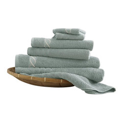 Spa Collection Egyptian Cotton Embroidered Chain 6-piece Towel Set  Jade - Indulge yourself in spa like luxury with this luxurious six-piece towel set. The set is made of Egyptian cotton known for its softness, absorbency, and durability. These towels make an ideal complement to any bathroom whether you use it to pamper yourself or reserve it for special guests. Egyptian cotton fibers are valued for their superior length and strength, which also reduces the buildup of pile and lint. These towels will feel cozy and comfortable against your skin every time you use them. Additionally the towels get softer with washing and drying.