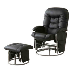 """Adarn Inc - Casual Leatherette Glider Recliner with Matching Ottoman Set, Black - This glider recliner with matching ottoman instantly makes any room in your home more inviting. A plush padded back and pillow arms invites you to sit back and recline in style. The matching ottoman offers the same plush seat and gliding functionality of the chair. A hanging bag keeps magazines, books, remotes and eyeglasses close at hand for added convenience. Your choice of black or beige leatherette lets you choose an upholstery finish that blends seamlessly with your decor.Ottoman:17""""L x 18""""W x 14.5""""H"""