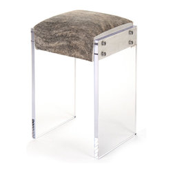 Kathy Kuo Home - Modern Hollywood Regency Cowhide Lucite Vanity Counter Stool - Finally, a counter stool as glamorous as you. From its modern Lucite base to its luxurious white and grey* cowhide upholstery, this counter stool will add style to your contemporary Hollywood décor and make you feel like you're relaxing between takes in an old Hollywood film. Of course, you're the star.  This item is made to order - please allow for a 3 - 4 week lead time for delivery