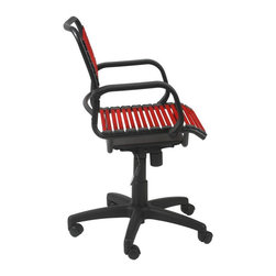 Euro Style - Bungie Flat Mid Back Office Chair - Red - Locks in upright and back positions. Tilt, swivel and gas lift. Polypropylene armrests. Powder epoxy coated steel frame. Extra strong flat bungie cord loops in red. 1-Year manufacturer's warranty. 25 in. W x 25 in D x 33 in. H (29.3 lbs.)Grand ideas for small spaces, the smooth and clean geometric shapes give your rooms a trendy, up-to-date look. The furniture design make your rooms stylish and sophisticated, symbolizing your self confidence.