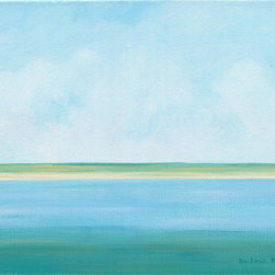 """""Off-Shore Calm"""" (Original) By Barbara Blair - When I Created This Semi-Abstract Peaceful And Contemplative Painting Of Water And Seashore, I Imagined Drifting In A Boat Just Off-Shore On A Calm And Lazy Summer Day.  I Chose Blues And Greens Combined With A Minimal Horizontal Design To Create A Very Calming, Serene Image.  The Soft Yellow Adds A Touch Of Complementary Color To Balance The Predominantly Cool Colors. This Is An Original Acrylic Painting On Canvas, And Would Look Great In A White Or Natural Frame.  It Can Also Be Hung Unframed As The Sides Are Painted To Match The Image."