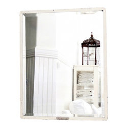 Metal Beveled Mirror - A large and heavy industrial mirror with the Original metal tag on the bottom center of frame. It has nice aging to the paint and mirror showing desirable signs of a time worn piece. Mirror is beveled and very heavy with original inset mounting brackets on the back for easy hanging.