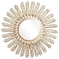 "One Kings Lane - Mirrors, Accents & Lighting - Brandi 31"" Leaf Mirror, Gold"