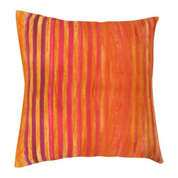 "Textiil - Red/Orange/Yellow Batik Stripe Pillow - Vibrant, warm and fun!  This all cotton hand-dyed batik fabric is from central Java, Indonesia.  As fabric is hand-dyed, each pillow is unique.  Pillow cover crafted in the USA.  Fabric is pre-washed. Knife edge construction with hidden zipper. Great on its own, or mix and match. 18"" or 20"" square. Insert is non-allergenic, with 300 thread count cotton cover."