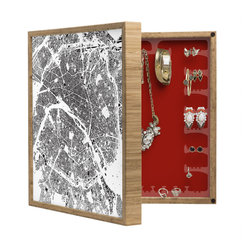 DENY Designs - Cityfabric Inc Paris White BlingBox Petite - Handcrafted from 100% sustainable, eco-friendly flat grain Amber Bamboo, DENY Designs BlingBox Petite measures approximately 15 x 15 x 3 and has an exterior matte cover showcasing the artwork of your choice, with a coordinating matte color on the interior. Additionally, the BlingBox Petite includes interior built-in clear, acrylic hooks that hold over 120 pieces of jewelry! Doubling as both art and an organized hanging jewelry box, It's bound to be the most functional (and most talked about) piece of wall art in your home! Custom made in the USA for every order.