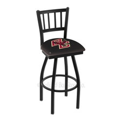 Holland Bar Stool - Holland Bar Stool L018 - Black Wrinkle Boston College Swivel Bar Stool - L018 - Black Wrinkle Boston College Swivel Bar Stool w/ Jailhouse Style Back belongs to College Collection by Holland Bar Stool Made for the ultimate sports fan, impress your buddies with this knockout from Holland Bar Stool. This contemporary L018 Boston College stool carries a defined Jailhouse back that doesn't just add comfort, but sophistication. Holland Bar Stool uses a detailed screen print process that applies specially formulated epoxy-vinyl ink in numerous stages to produce a sharp, crisp, clear image of your desired logo. You can't find a higher quality logo stool on the market. The plating grade steel used to build the frame is commercial quality, so it will withstand the abuse of the rowdiest of friends for years to come. The structure is powder-coated black wrinkle to ensure a rich, sleek, long lasting finish. Construction of this framework is built tough, utilizing solid welds. If you're going to finish your bar or game room, do it right- with a Holland Bar Stool. Barstool (1)