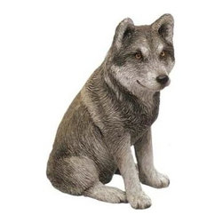 Sandicast - Mid Size Gray Mexican Wolf Figurine - Mid Size - Mexican Wolf Figurine in Gray. Made of Marble Dust and Poly Resin. Exceptionally sculpted. Incredible realism. Perfect for pet lovers. Hand-cast and hand-painted animal replica. 3 in. L x 2 in. W x 5 in. H (0.8 lbs)