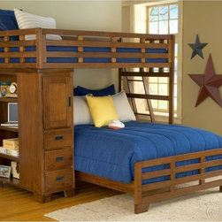 American Woodcrafters - Heartland Student Loft Bed Multicolor - AWR761 - Shop for Bunk Beds from Hayneedle.com! The Heartland Twin over Full Student Bunk Bed is a beautiful piece of bedroom furniture that your children will love having. This bunk bed is made with sengon tekik solids and veneers with an easy to maintain finish. The bunk ladder has five mahogany steps for safety and durability. The bookcase features three drawers one door with a stationary shelf and four open stationary shelves. Some assembly required. We take your family's safety seriously. That's why all of our bunk beds come with a bunkie board slat pack or metal grid support system. These provide complete mattress support and secure the mattress within the bunk bed frame. Please note: Bunk beds and loft beds are only to be used by children 6 years of age or older. About American WoodcraftersFor unparalleled quality and value choose American Woodcrafters for your youth or master bedroom furniture. Founded in 1996 as a division of Rockford Capital Corporation and located in High Point N.C. American Woodcrafters is the brainchild of John N. Foster. His 40 years of experience in manufacturing marketing and product development inspire the company to deliver superior furniture designs of exceptional value. Each exquisite furniture piece is well-made and creatively styled with a fine quality finish and innovative features to make your home more beautiful and functional.