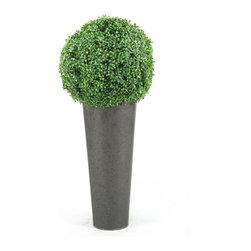 D&W Silks - D&W Silks Boxwood Ball In Round Planter - Boxwood Ball Topiary