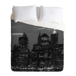 DENY Designs - Leonidas Oxby New York Financial District Duvet Cover - Turn your basic, boring down comforter into the super stylish focal point of your bedroom. Our Luxe Duvet is made from a heavy-weight luxurious woven polyester with a 50% cotton/50% polyester cream bottom. It also includes a hidden zipper with interior corner ties to secure your comforter. it's comfy, fade-resistant, and custom printed for each and every customer.