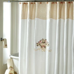 Avanti - Avanti Rosefan 72-Inch x 72-Inch Shower Curtain - This Avanit Rosefan shower curtain features a large embroidered & appliqued floral bouquet and scroll in the center of the curtain. The curtain is finished with a jacquard fabric top all on a cream ground color.