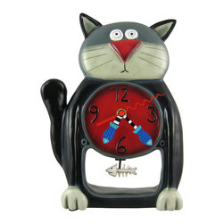 Allen Designs - Allen Designs Black Kitty Cat Pendulum Wall Clock - This whimsical cat pendulum clock is called `Black Kitty` and is by Allen Designs. Made of cast resin, this stunned kitty is mesmerized by the fish bones swinging back and forth on the pendulum in his stomach. The clock is hand-painted and coated in polyurethane to keep the colors bright and give it a glossy look. It measures 11 inches high, 8 inches wide. It`s a must-have for cat lovers.