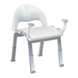 Moen - Moen CSIDN7100 Glacier Home Care Home Care Premium Shower Chair - Home Care Premium Shower Chair  Offers superior safety and added conveniences in the shower An innovative, wide-leg design with slip-free rubber feet provides superior stability for users up to 400 pounds Adjustable height settings and rubber-grip support handles offer added ease and support when standing or sitting Features a reinforced mesh seat that is comfortable and easy to clean An ergonomically designed back offers optimal support and comfort Includes basket organizer and handheld shower holder to keep necessary items conveniently close Passed all 23 independent safety tests Product is backed by a lifetime limited warranty