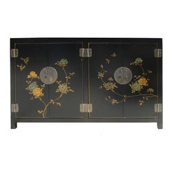 Golden Lotus - Black Color Peony Flowers Graphic Leather Surface Cabinet Side Table - You are looking at a unique oriental black color two compartment cabinet. There is a thin layer of artificial leather over wood and it has peony flowers graphic on the front and sides.