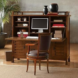 """Maria Yee Shinto Office Armoire - This beautiful desk is built from solid walnut using traditional joinery and without any nails.  Despite old world craftsmanship, it's designed to handle all the business of the 21st-century.  This desk will hold a 17"""" computer monitor, hard drive, and printer and has removable shelves, a legal/letter file drawer, and five sliding back doors for wiring access."""