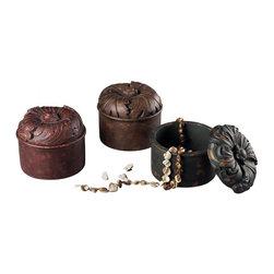 Joshua Marshal - Set Of 3 Autumn Color Keep Sake Boxes - SET OF 3 AUTUMN COLOR KEEP SAKE BOXES