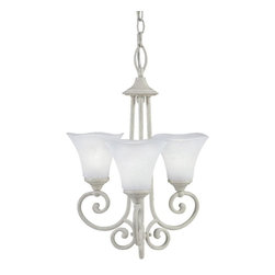 None - Captiva Collection 3-light Chandelier - Illuminate any room elegantly with this steel 3-light chandelier. The transitional light fixture is constructed from quality steel and features a rubbed white finish with white frosted glass shades that will brighten and complement your home decor.