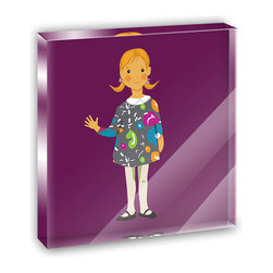 """Made on Terra - Little Girl Cartoon Mini Desk Plaque and Paperweight - You glance over at your miniature acrylic plaque and your spirits are instantly lifted. It's just too cute! From it's petite size to the unique design, it's the perfect punctuation for your shelf or desk, depending on where you want to place it at that moment. At this moment, it's standing up on its own, but you know it also looks great flat on a desk as a paper weight. Choose from Made on Terra's many wonderful acrylic decorations. Measures approximately 4"""" width x 4"""" in length x 1/2"""" in depth. Made of acrylic. Artwork is printed on the back for a cool effect. Self-standing."""
