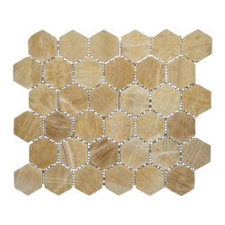 """Marbleville - Honey Onyx 2"""" Hexagon Polished Finish Mesh-Mounted Mosaic in 12"""" x 12"""" Sheet - Premium Grade Honey Onyx 2"""" Hexagon Polished Mesh-Mounted Onyx Mosaic is a splendid Tile to add to your decor. Its aesthetically pleasing look can add great value to any ambience. This Mosaic Tile is made from selected natural stone material. The tile is manufactured to high standard, each tile is hand selected to ensure quality. It is perfect for any interior projects such as kitchen backsplash, bathroom flooring, shower surround, dining room, entryway, corridor, balcony, spa, pool, etc."""