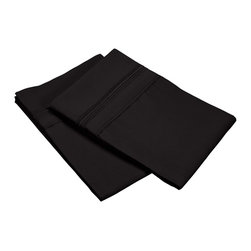Executive 3000 Series 5 Line Embroidery Pillowcase Set - Standard - Black - The new Executive Series features updated highest quality 100% microfiber pillowcases. The microfibers are 100 times thinner than a strand of hair making the weave impenetrable to allergens and dust mites. This set features pillowcases with an embroidered 5 line pattern on the borders. These pillowcases are comfortable as well as durable. Set includes Two Pillowcases 20x30 each.