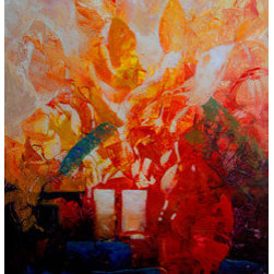 Heart Of Fire (Original) by Kanayo Ede - Textured abstract acrylic painting on canvas. gallery wrap . . ready to hang right out of the box.