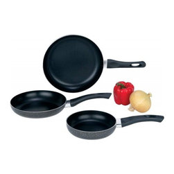 """Unknown - Chef's Secret® 3pc Aluminum Frypan Set - Includes 6-1/4"""" frypan, 7-7/8"""" frypan and 9-1/2"""" frypan. Features hammered texture, powder-coated finish, phenolic handles, and non-stick coating. Limited lifetime warranty. Bulk packed."""