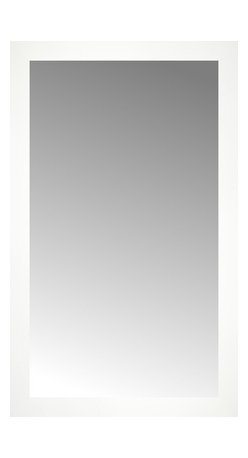 """Posters 2 Prints, LLC - 22"""" x 36"""" White Wide Cube Custom Framed Mirror - 22"""" x 36"""" Custom Framed Mirror made by Posters 2 Prints. Standard glass with unrivaled selection of crafted mirror frames.  Protected with category II safety backing to keep glass fragments together should the mirror be accidentally broken.  Safe arrival guaranteed.  Made in the United States of America"""