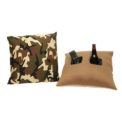 Double Pocket Pillow, Camouflage - The Double Pocket Pillow does much more than lie around on the couch! Each Double Pocket Pillow has two (2) deep, insulated nylon pockets that are perfect for holding your remote control as well as your favorite beverage. The insulated pockets keep your beverages cold and secure so they won't spill. One pocket is the perfect size for holding soda cans, water bottles and beer bottles, while the other is just the right size to hold a remote control, cell phone or even a snack. The Double Pocket Pillow can even be used to prop up a kindle, iPad or book.