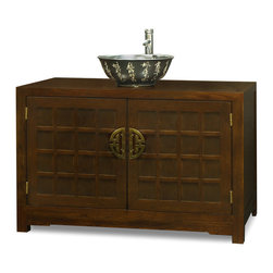 "China Furniture and Arts - Elmwood Tansu Style Vanity Cabinet - With a simple silhouette and a clean geometric design, this Elmwood vanity cabinet is inspired by the functional and chic Japanese aesthetic. The hand-rubbed dark walnut finish and brass hardware of the cabinet are complemented by the elegant black porcelain sink vessel, which features a hand-etched ancient Chinese poem in an elegant calligraphy style both inside and out. One removable shelf behind the doors for your storage convenience. Bowl is 16""Dia x 6""H. Faucet in shiny chrome finish. Vessel bowl and faucet are not installed."