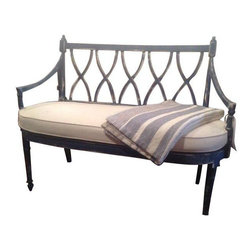 Pre-owned Antique Navy Linen Bench - This navy blue antique bench has been freshly painted and features a French linen cushion. The seat underneath is cane and in perfect condition. The bench is very sturdy, solid and will look beautiful in an entryway or on one side of a dining table.