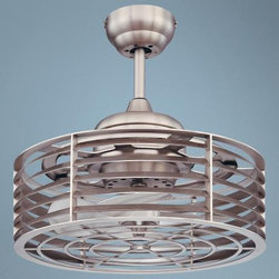 """14"""" Savoy House Sea Side Satin Nickel Ceiling Fan - While this ceiling fan has retro industrial style, it's contemporary at the same time. Shake up your expectations of what a ceiling fan should look like with this unique and stylish model."""