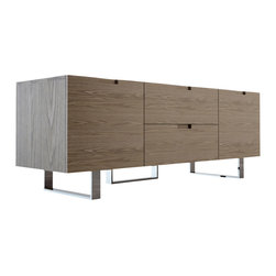 """Modloft - Eldridge TV Stand, Walnut - The Eldridge media cabinet, with its ultra clean lines, spans just over 5' long - a perfect fit for tight spaces. With two center drawers that measure 22""""W x 15""""D, and two side cabinets (17""""W x 16""""D x 14""""H) there will be plenty of room for storage. Each side cabinet includes an adjustable middle shelf (.5 thick). Smooth cabinet doors open to an A/V-ready compartment complete with rear ventilation/wire holes. Minor assembly required (legs detached). Available in wenge or walnut wood finishes. Also available in white lacquer finish. Imported."""