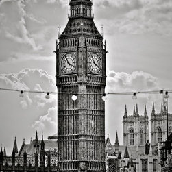 Big Ben  Lights-London, Fine Art Photography Print, 10X15 - This was taken in London Summer of 2012 during the Olympics. What an awesome city and AMAZING experience! Loved this unique view of Big Ben in black and white and the string of lights going across.  It adds dimension and I have a photograph like this for Durham NC.