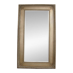 Silver Leaf Beveled Rectangle Floor Mirror